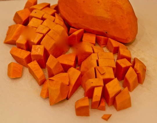 Sweet and spicey sweet potaoes whole and cubed