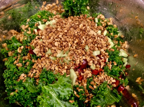 farro and kale Kale, cherries and walnut in bowl