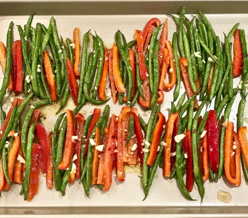 French beans on baking pan