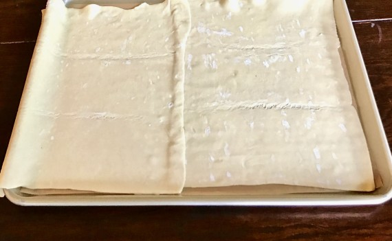 ricoota pie pastry sheets on pan